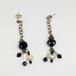 Black Glass Bead Pearl Sterling Silver Earrings